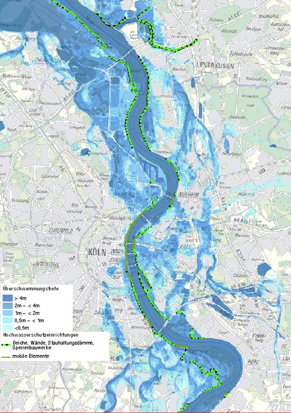 Hochwassergefahrenkarte Köln